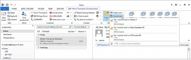 CRM for Outlook -recente activiteit van klant